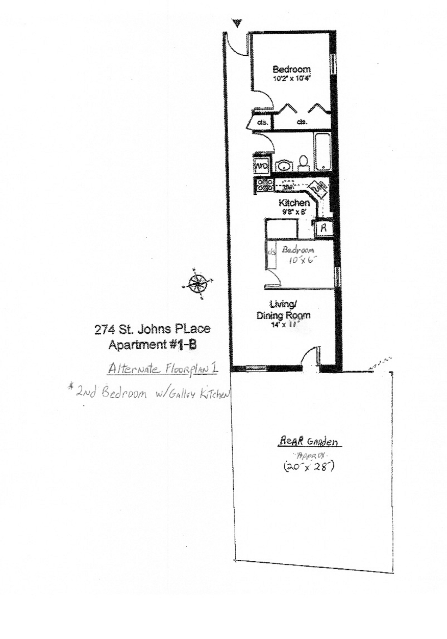 Alternate Floor Plan 1 - 2nd bedroom w/galley kitchen