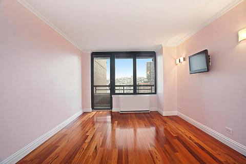 Bedroom.  Wall mounted TV, walk-in closet, second closet, balcony, and master bath.