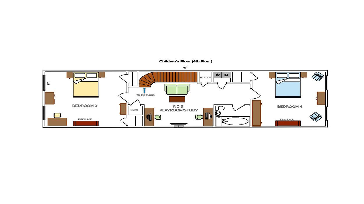 Upper Floor 3rd and 4th Bedroom with Center Study