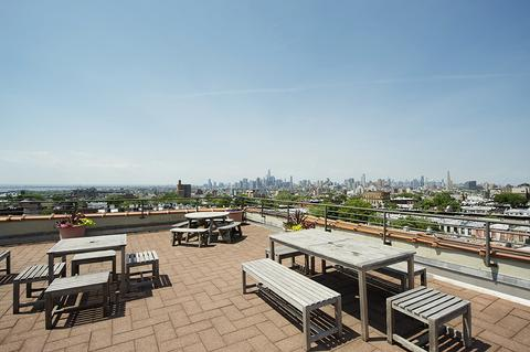 Roof deck with view of Manhattan