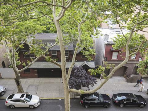 Looking down over carriage houses on Waverly Ave.