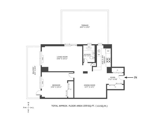 15A Floor Plan - 1 BR/ 1BA Co-op (easily convertible to legal 2 BR). One-of-a-Kind corner unit!