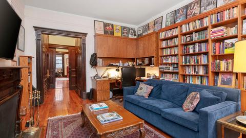 Library/Bedroom with wood burning fireplace