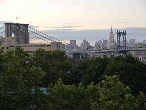 View from living room of Brooklyn Heights, bridges, and Manhattan