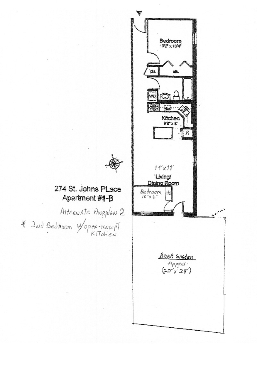 Alternate Floor Plan 2 - 2nd bedroom w/open concept kitchen