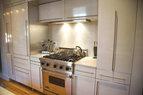View of the gourmet Kitchen with Viking Stove, Sub-Zero fridge, Julien Sink, etc.