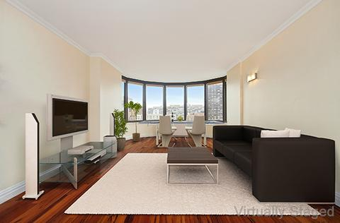 Virtually staged living room.