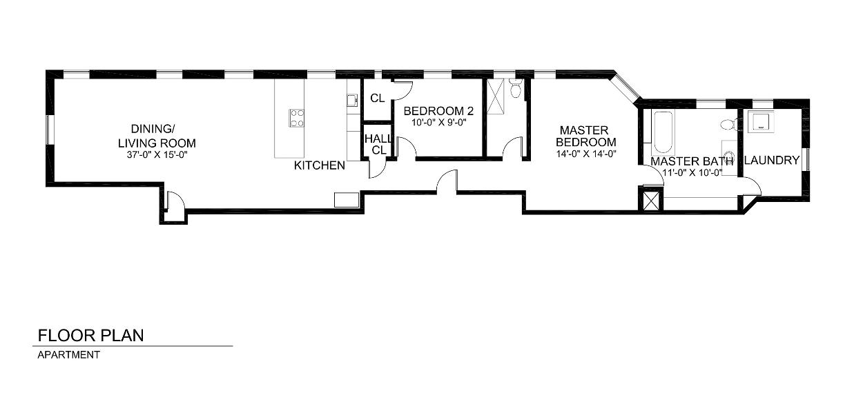 Floor Plan of Unit Currently as a Two Bedroom