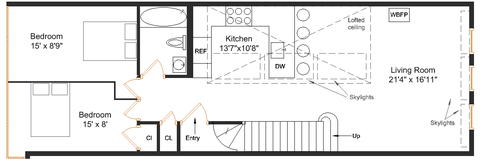 Alternative floorplan, showing how three bedrooms might work