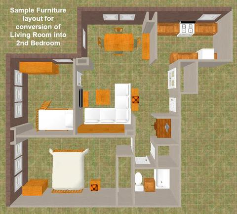 Sample Furniture Placement of Living Room Conversion