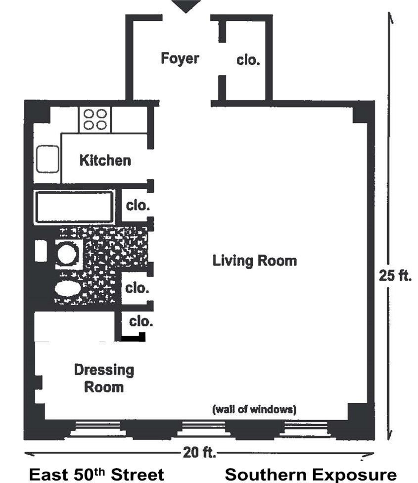 319 East 50th St Apt 2C Floor Plan