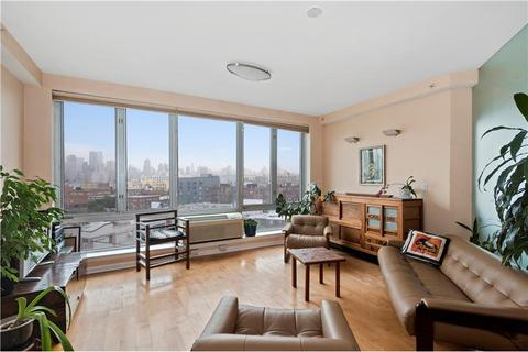 Living room featuring city skyline views