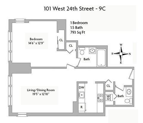 Floor Plan - 793 Sq Ft