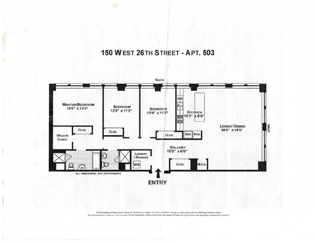 150 west 26th St Apt 503 Floor Plan