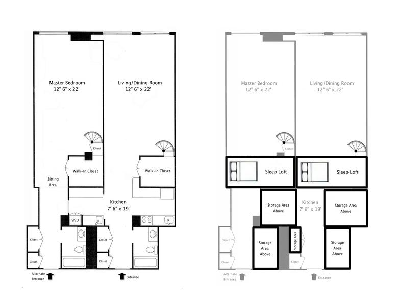 Main Level On The Left | Upper Level (Sleeping Lofts and Storage Areas) On The Right